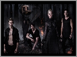Candice Accola, Bohaterowie, Michael Trevino, Pamiętniki wampirów, Las, Ogień, Steven R McQueen, The Vampire Diaries, Noc